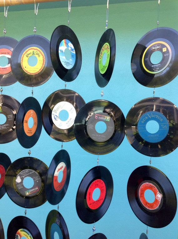 Hanging Records On Wall vintage record wall hanging/ repurposed 6 strands of 5 45