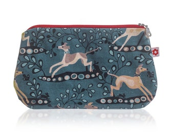 Whippet Oilcloth Purse by Susie Faulks / Make Up Purse / Oilcloth / Pencil case/ Whippet/ Purse / Made in England