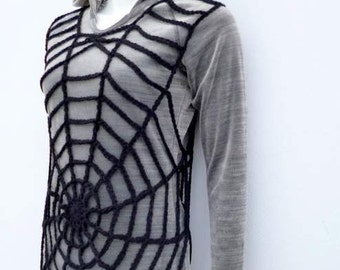 PDF Crochet Pattern, Crochet Lace Tunic Pattern, Spider Web Pattern, Halloween Costume, Gothic Grunge Clothing Instant Download Pattern SWT2