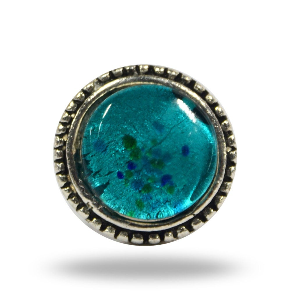Turquoise round door knob for a dresser drawer pull for Turquoise door knobs