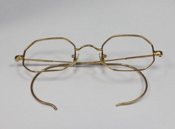 Gold Filled Eyeglass Frames : Vintage Yellow Gold Filled Octagonal Eyeglass Frames