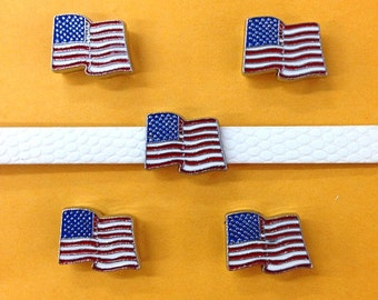 Set of 10 pc new american flag slide charm fits 8mm wristband for jewelry /crafting