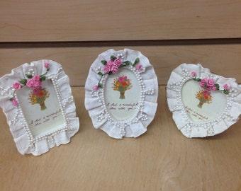 Set of 12 Mini ivory vintage inspired picture frames - place card holder - wedding / party favor / bridal shower/