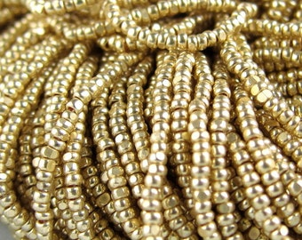 Hanks 13/0 Gold Terra Metallic Czech Glass Charlotte Seed Beads - 1.7 mm 1 Cut - One Cut - 1 / 4 / 8 / 12 Hank Options.