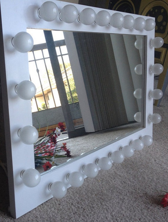 Lighted makeup vanity mirror called White Wedding.Pine wood frame, painted Textured White, with ...