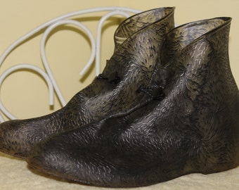 1950s 60s Size 8 Gray Grey Black Rubber Rain Boot covers for Shoes or Ankle Boots