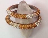 Crystal encrusted bangle bracelet duo