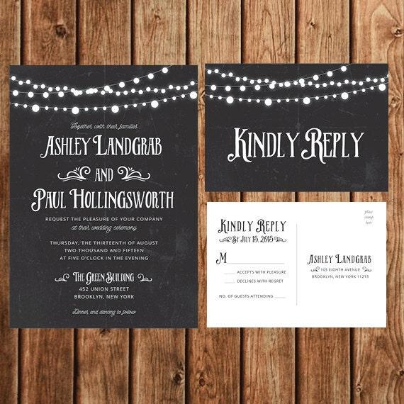 Diy Chalkboard Wedding Invitations: Wedding Invitations Chalkboard Printable DIY By BettyLuPaperie