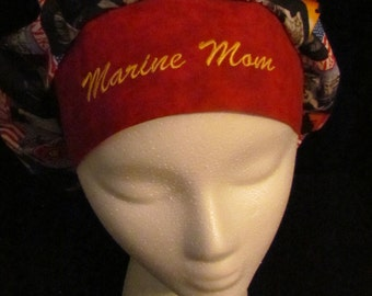 Special Order Marine Mom Bouffant Scrub Hat With Banded Front & Toggled Back