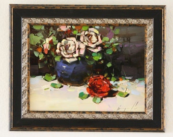 Roses Oil Painting in Handmade Framed Ready to hang Original Signed Painting