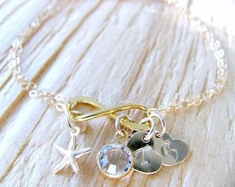 Personalized Infinity Bracelet 14k Gf heart bracelet 2  custom Initial Swarovski Birthstone Bracelet Starfish beach wedding Infinity Jewelry