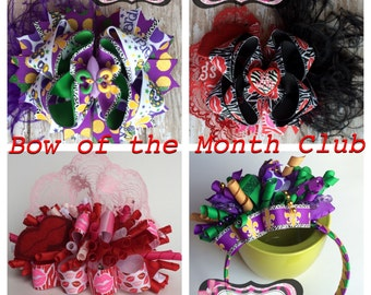 Bow of the month club, 6 month membership, bow subscription box, 6 stacked boutique bows, bulk bows, girl subscription box
