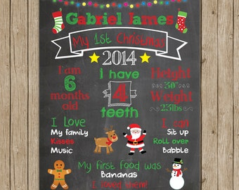 Custom Baby's First Christmas Chalkboard Print