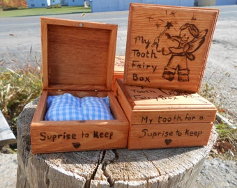 Wood Tooth Fairy boxes with interior pillow blue or pink