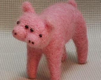 Needle Felted Two-Headed Pig Wool Miniature Farm Animal Mutant Pet Blythe Doll