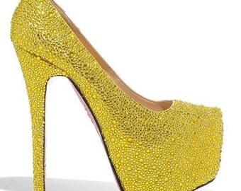 Yellow Crystal Shoe's, Yellow Wedding Shoes, Yellow Bridal Shoes, Yellow Heels, Yellow Pumps, Strass Heels, Strass Shoes, Strass Pumps
