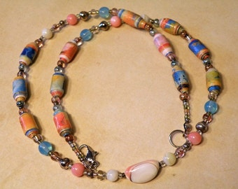 Coral Blue & Yellow Paperbead and Shell Necklace