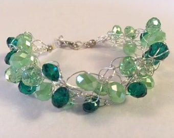 Multicolored Green Crochet Bracelet