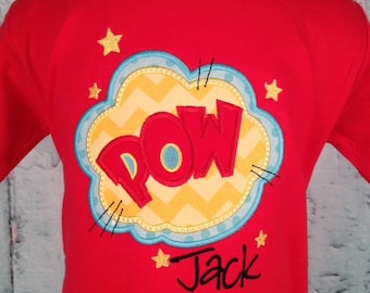 Super Hero Comic POW Applique Shirt - Boys