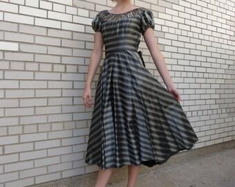 Vintage 1950's Gray Striped Taffeta Dress