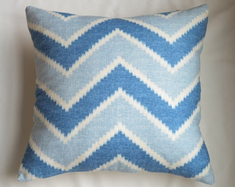 Contemporary Chevron Pillow Cover In Sky Blue and Dark Blue