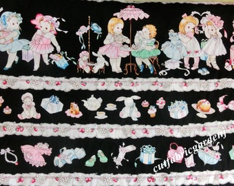 Cotton Fabric - 1 Meter Character Fabric - Cute Doll - Black Fabric