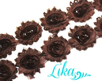 Brown Shabby Flower Trim - Shabby Rose trim - Shabby Flowers - Chiffon Flower - Wholesale - Shabby Chic - Rose Trim - 1 yard
