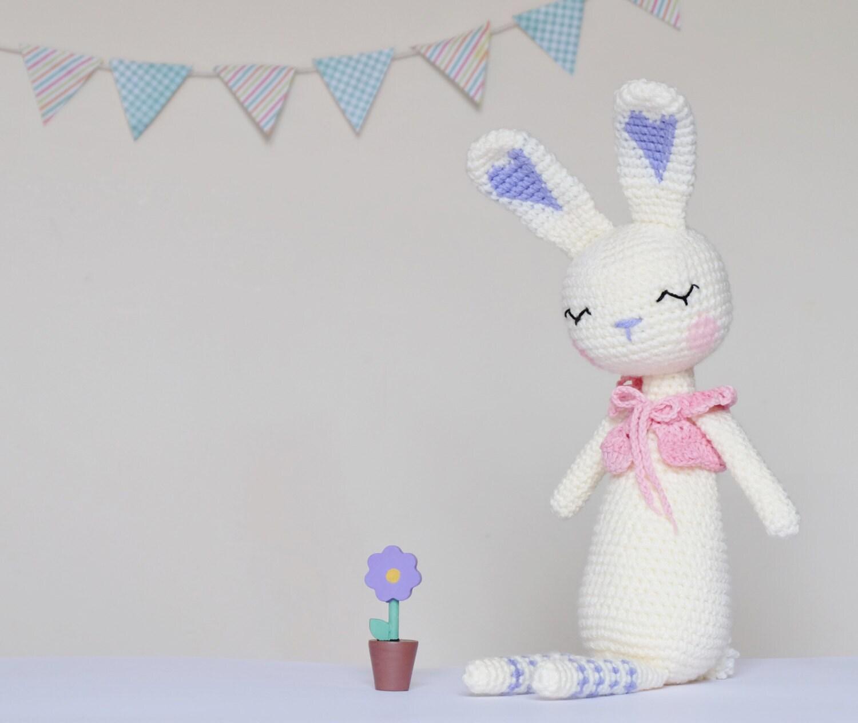 Amigurumi Sleeping Bunny : Crochet Amigurumi Sleepy Bunny PATTERN ONLY PDF Rabbit Stuffed
