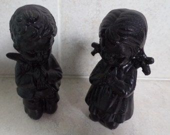 Pair hand crafted figurines, made of coal.  praying boy & girl, coal figurines, hand carved figurines, hand made figurines, praying figures