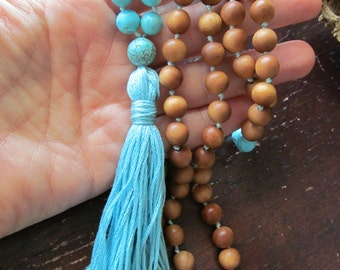 Turquoise and Sandalwood 108 Mala Beads,  Mala Necklace, Prayer Beads, Yoga Jewelry, Japa Mala, Meditation Beads, Tassel Necklace