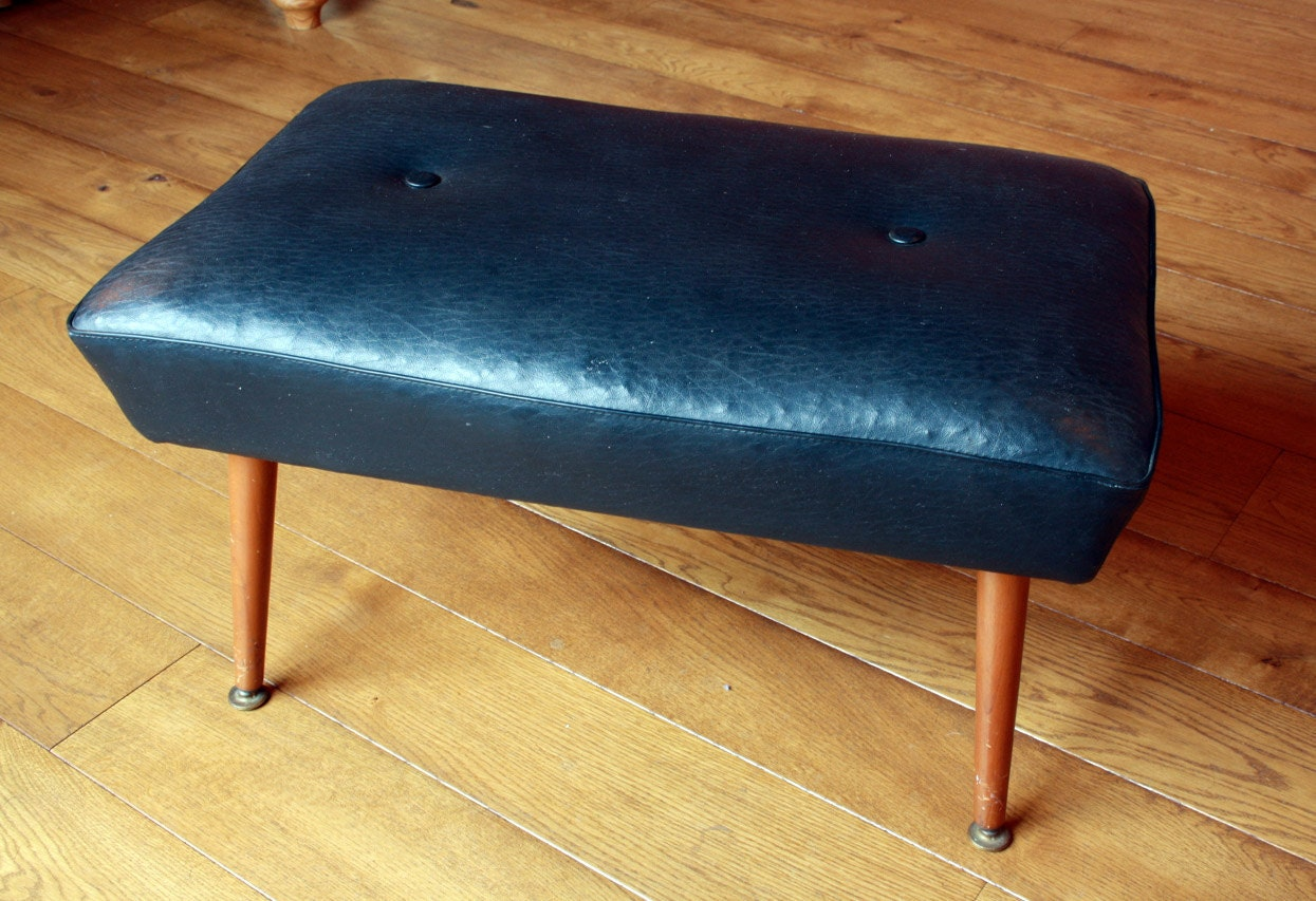 Ottomans Sherborne Ottoman Large: Mid Century 1970s Sherborne Black Faux Leather Footstool