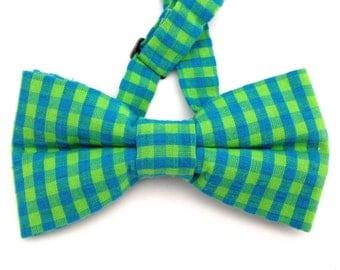 Green bow tie, Blue bow tie, Gingham bow tie, blue gingham tie, green gingham tie, blue necktie, green necktie, bow tie, checker board tie,
