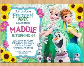 FROZEN FEVER Invitation, Frozen Summer Invitation, Frozen Fever Snowgies, Frozen Fever Birthday Invitation, Frozen Fever Invite, Olaf Elsa