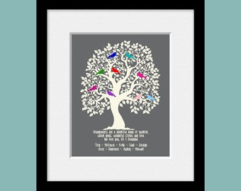 Personalized Grandparents Family Tree, Family Tree, Grandparent's Gift, Christmas Gift, Family Tree Home Decor, Customized Family Tree