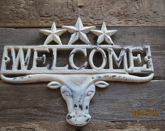 Western Welcome sign, Cast iron welcome sign, Southwest welcome sign, Shabby chic, Vintage look, Aged welcome sign, Cowboy Welcome sign