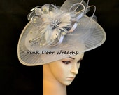 Local Louisville RTS Ready to Ship Pickup KENTUCKY DERBY Fascinator Oaks Day Hat Dress Church Grey gray silver feathers classic fan circle