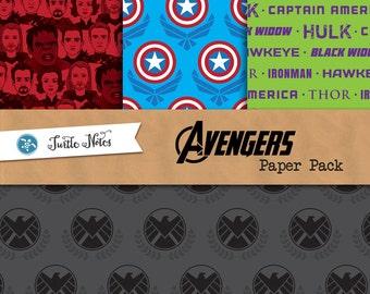 Avengers Paper Pack : 24 Printable Digital Scrapbook Papers