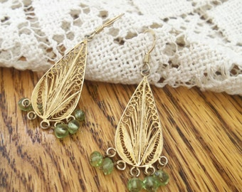 Vintage Gold Plated Silver and Peridot Chandelier Earrings