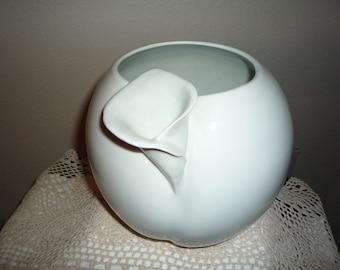 Vintage White Tulip Vase