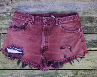 End of Summer Clearance - Vintage Levi's Shorts- Burgundy and Black Frayed Distressed Cuttoffs -  High waist or Slouch - 34 W- Women's S-M
