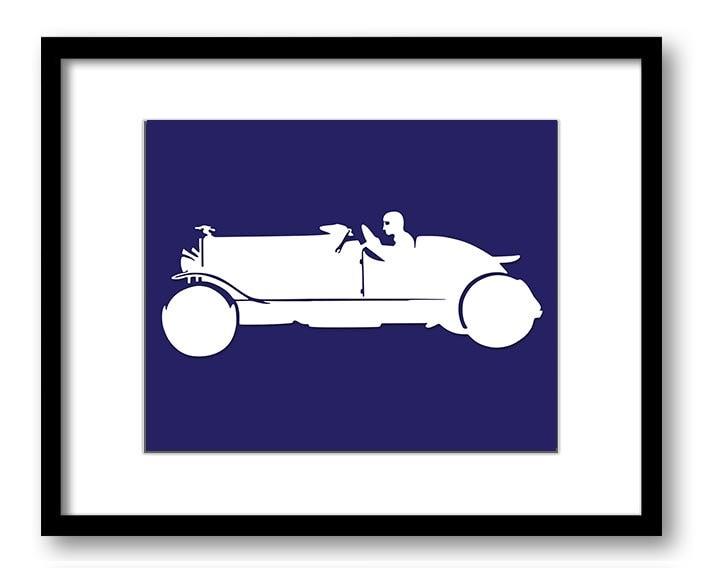 White Antique Race Car Navy Blue Background Boys Kids Room Wall Art Print Boys Art Nursery Art Nurse
