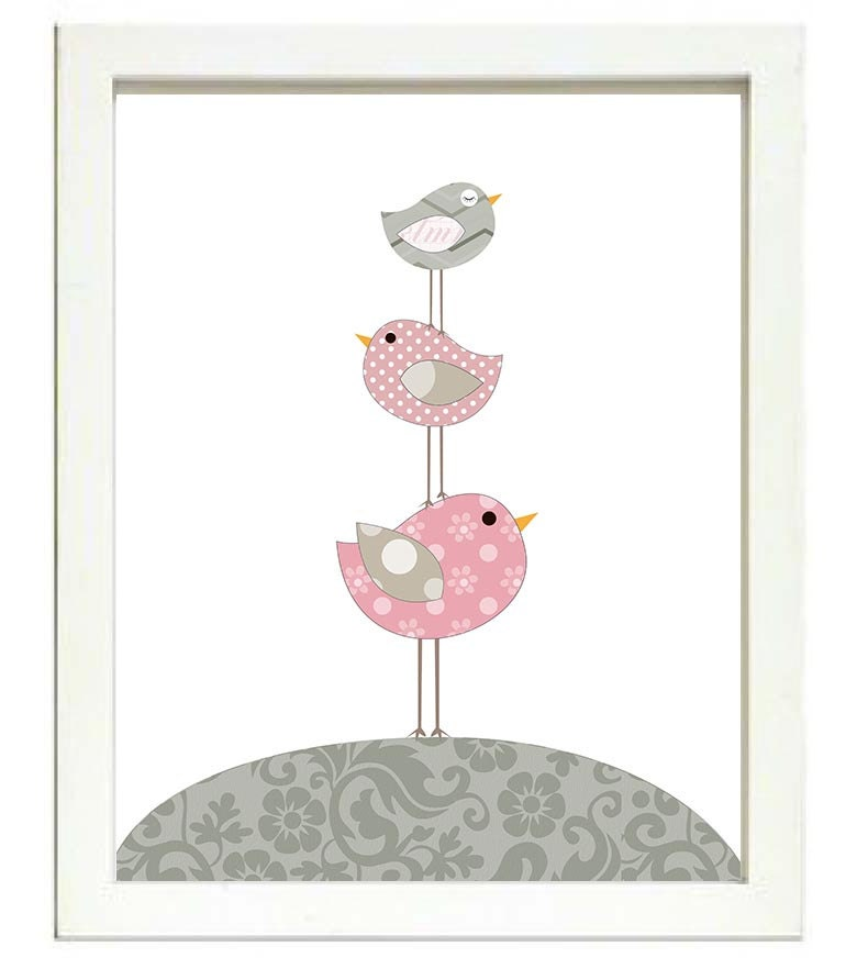 Bird Nursery Art Nursery Print Baby Art Baby Animal Birds Chicks Pink Grey Polka Dots Flowers Paisle