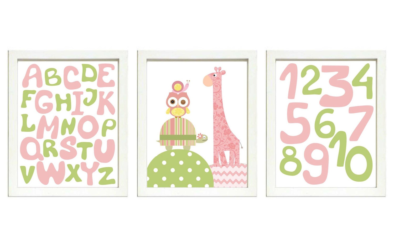 Pink Green Girls Nursery Art Print Set of 3 Owl Turtle Giraffe Snail ABC Alphabet Numbers 123 Baby N