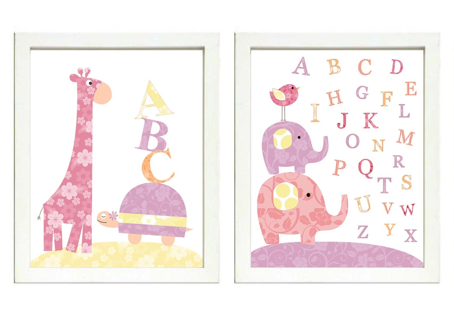 Pink Yellow Purple Girls Nursery Art Print Set of 2 Elephant Turtle Giraffe ABC Alphabet Baby Nurser