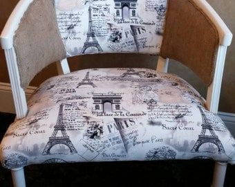 Beautiful Modern French Script and Burlap Accent Chair