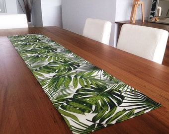 Palm Leaves Tropical Table Runner Coastal Classic. Vintage Hawaiian Style. Botanicals Beach House Decor. Retro Tropical