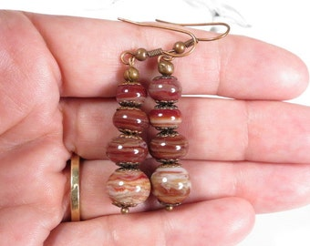 Rich Brown/White Swirl Copper Earrings