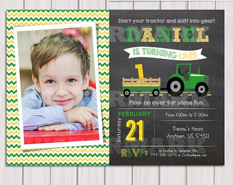 Tractor Birthday Invitation Chalkboard Invitation Farm Birthday Invitation with photo green tractor