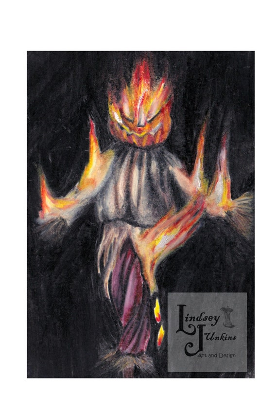 Pumpkin Head Drawing Flaming Scarecrow Pumpkin Head