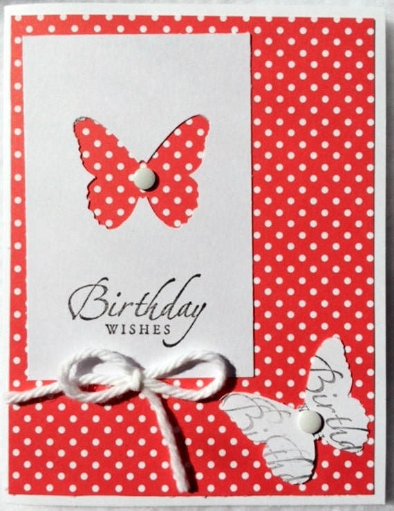 butterfly birthday handmade cardassorted colors
